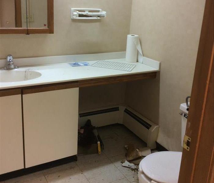 pivture of bathroom, medicine cabinet, long counter top, vinyl floor, toilet bowl, servpro logo