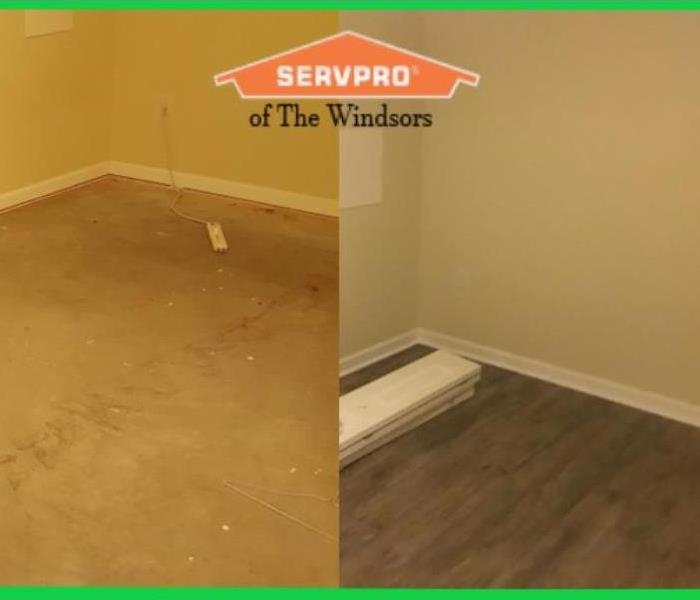 GREEN BORDER, two pictures of the same room, on the left are concrete dirty floors on the right new wood flooring and clean,