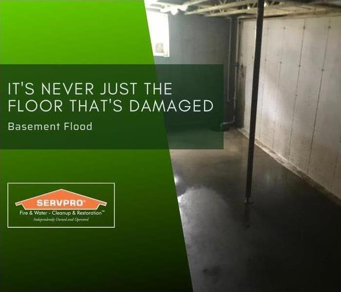 "basement with flooded concrete floors and white walls. The picture reads ""it's never just the floor that's damaged"" ."