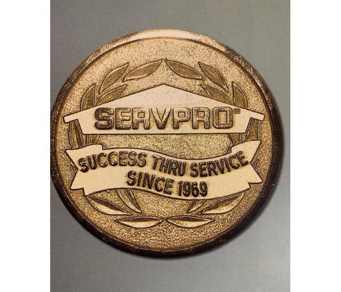Gold medal, with script, servpro, 1969