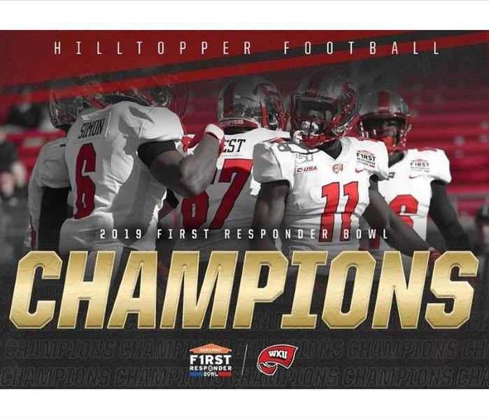 "Photo reads ""Hilltopper Football 2019 First Responder Bowl Champions"" photo of team members in the background"