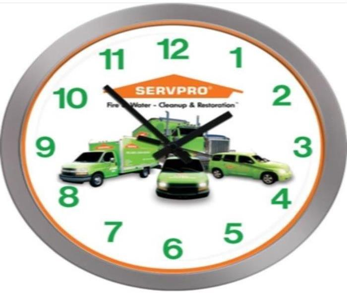servpro clock, servpro windsor CT, servpro logo, connecticut water damage, numerical text, servpro characters